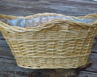 French Wicker Oval Basket with Plastic lining, Woven French Fruit Basket, Storage Basket Easter Decor
