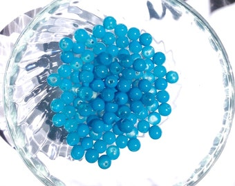 Lot 10 pearls 8mm blue slightly turquoise / round glass beads