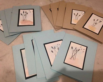 Hand painted one of a kind  watercolor Wheat note cards