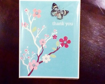 Thank You Cherry blossom tree with Blue Butterfly