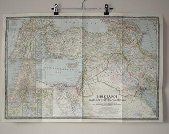 National Geographic map  Bible Lands & The Cradle of Western Civilization 1946 Vintage