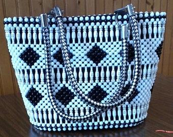 Beaded, Sisal , wood bits handbag