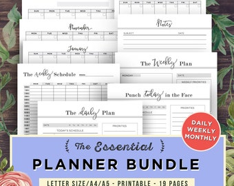 Daily Planner Printable Inserts BUNDLE | Life Binder, Weekly Planner, Filofax A5, A4, Letter, Organizer Notebook, Agenda, Planner Pages PDF