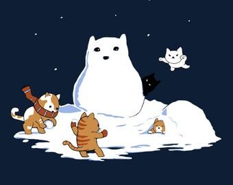 Snowcat • KIDS T-Shirt • Cute cats having fun in snow!