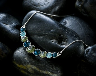 Midnight Solitares Necklace - Swarovski solitare crystals set in a glossy rhodium finish and a lovely box chain
