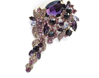 Purple Rhinestone Crystal Brooch Wedding Accessories Bridal Brooch bouquet Wedding Cake Brooch