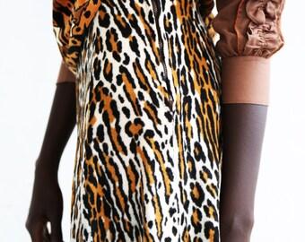 Animal Print High Waisted Midi Skirt xs/small Vintage 70s