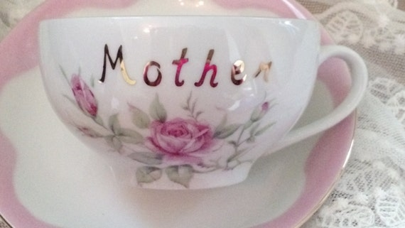 Lefton China Oversized Coffee Tea Cup And Saucer Pink Roses
