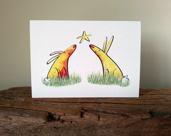 Yellow Bunny Card, Quirky Bunny Card, Greetings Card, Blank Greetings Card, Quirky Rabbit Card, Animal Lovers Card, Spring Bunnys,