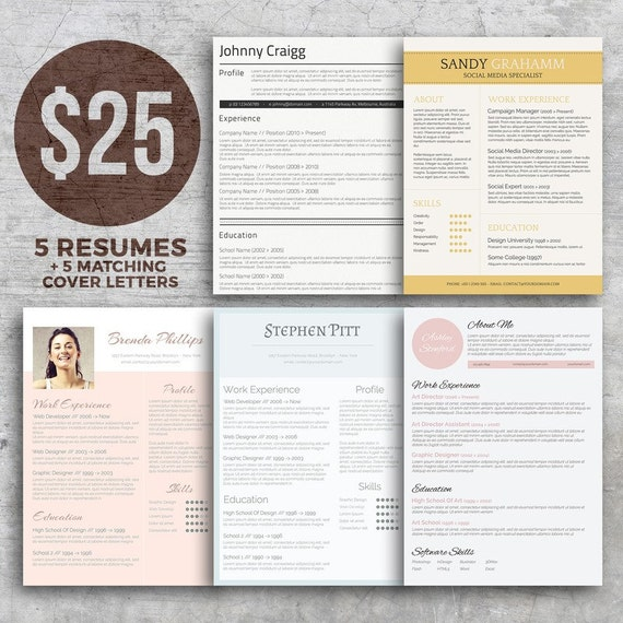 5 resume bundle matching cover letters templates editable