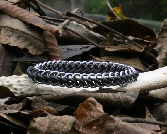 Black Ice and Black Half Persian Stretchy Chainmaille Bracelet - Stretch Chain Maille Jewelry - Rubber Stretch Chainmail Bracelet Cuff