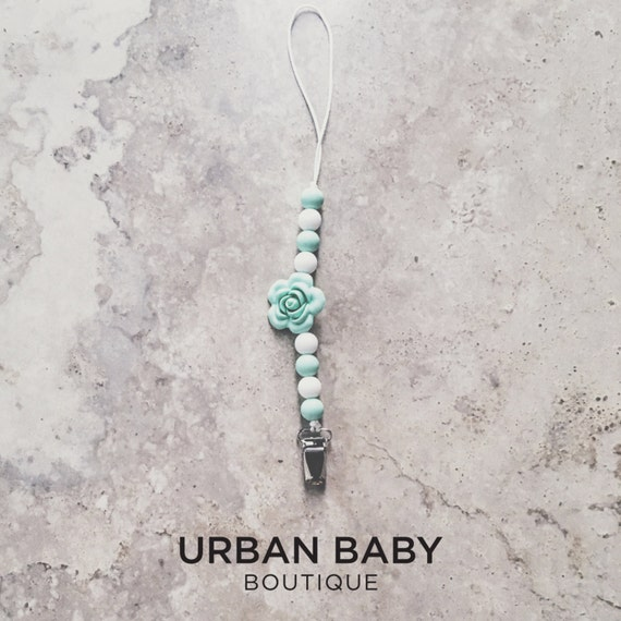 Aarya Mint Rose Chewable Silicone Pacifier Clip - Soother Clips, Teether Clips, Rose Flower, Chew Beads, Baby Shower, BPA Free Jewellery
