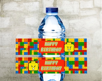 Lego Birthday Water Bottle Labels, Prinable Bottle Labels, INSTANT DOWNLOAD