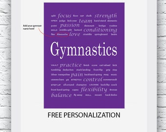Free Personalization, Gymnastics Wall Art, Gymnastics Art, Gymnastics Print, Purple Gymnastics Art, Gymnastics Decor , Gymnastics Coach