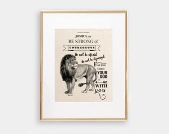 Joshua 1:9 | Be Strong & Courageous | Christian Wall Art | Bible Verse Print | Bible Verse Wall Art | Scripture Art | Christian Print