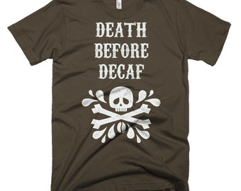 Death Before Decaf Coffee Skull Men's Tee