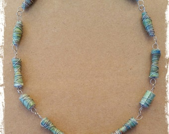 one of a kind recycled paper bead necklace: earthy green tones