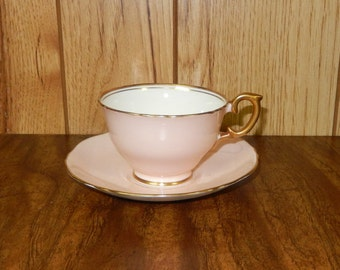 Crown Staffordshire Pale Pink Teacup and Saucer