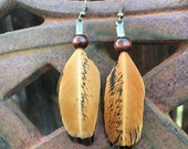 Reddish Brown and Black Natural Feather Earrings - Cruelty free chicken feather earrings