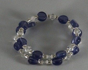 Purple, Silver and Clear Glass Beaded Bracelet, Double Stacked, Two layer, Double Wrap Bracelet