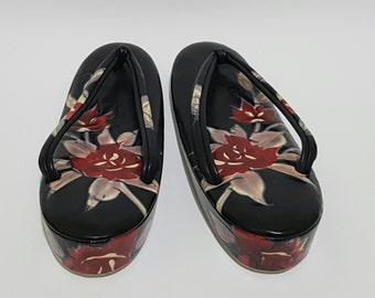 Sakura Cherry Blossoms Floral Handpainted Black Leather Japanese Geta Sandals, CecysAsianShop