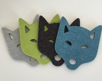 Wool Felt Coasters, Drink Coasters, Thick Felt Coasters, Cup Coasters, Industrial Felt, Set of 4 Foxes