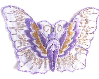 Applique, butterfly 1930s vintage embroidered applique. Vintage patch, sewing supply. #646GD2KB