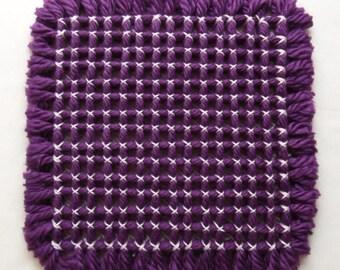 Hot Pad Trivet Purple Yarn Light Pink Stitching
