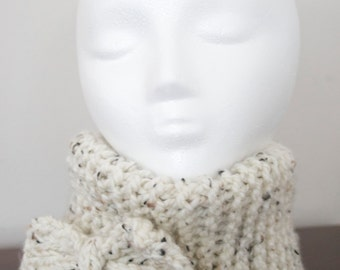 Convertible Oatmeal Cowl/Headband with Bow