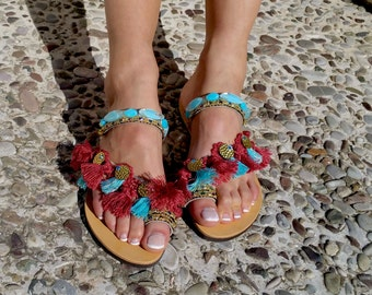 """Hippie Chic Sandals """"Samantha"""", Ethnic Sandals, Boho Chic Sandals"""