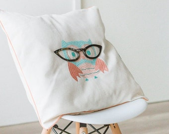 OWL embroidered Cushion cover