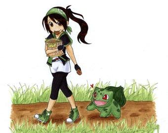 Custom Pokemon portrait. Pokemon trainer, pokemon art, custom portrait, pokemon gift, anniversary gift, pokemon go