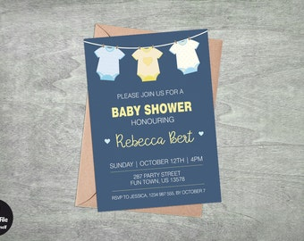 Onesie Baby Shower Invitation, Personalized Printable Party Invite, Celebration Announcement, Baby Boy, Cyan Cobalt And Light Blue, Yellow