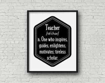 Printable Teacher Art, Definition of a Teacher Art Print, Digital Art Print, Wall Art, Home Decor, Teacher Word Art, Typography Art 0122
