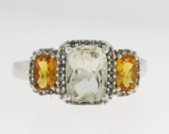 White Orange Citrine Halo  Ring - 10k White Gold - Gemstone Jewelry - November Birthstone