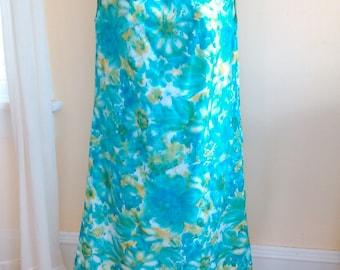 Mod 1960s Sun Dress Floral Shift  - Blue - Size S