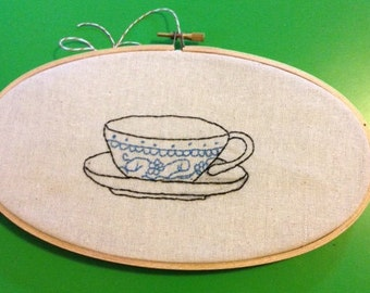 lovely embroidered tea cup