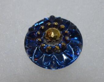 Czech glass button - dark blue -  23 mm