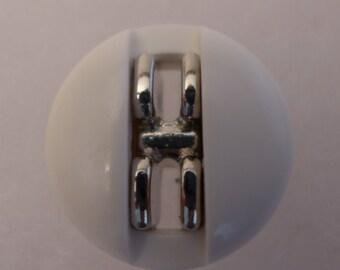 Vintage coat button - white - 25mm