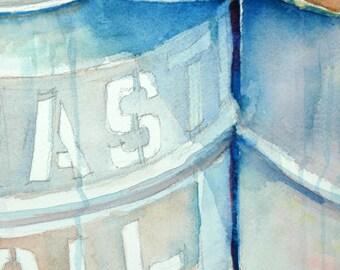 "Industrial, ""Waste Oil"", Original Watercolor, 11"" x 14"" 140lb Cold Press Watercolor Paper"