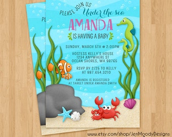 Under the Sea Baby Shower Invitation, Ocean Party Invite - Digital, Printable, Boy or Girl, Swimming, Fish, Ocean, Water, Crab, Celebration