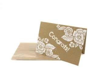 Handmade Congratulations Card, Floral White and Brown Wedding Card, New Baby Card, Congrats Card, Hand Printed, Linoprint Design