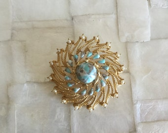 Vintage 1970s Sarah Coventry Turquoise Brooch