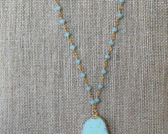 Long Tassel & Druzt Agate Stone Necklace