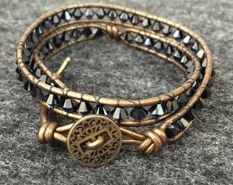 Swarovski Crystal Leather Wrap Bracelet - Indigo and Gold