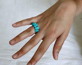 Turquoise Ring, Handmade Ring, Gemstone Ring, Comfortable Ring, Adjustable Ring, Turquoise Chips Blue Ring