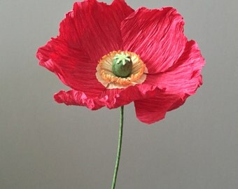 Crepe Paper Iceland Poppy, Single Stem - Wedding Flowers - Home Decor - Florist Supply - Paper Flowers