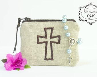 Boy's/Men's Personalized rosary pouch, Monogrammed rosary pouch, Rosary case, Baptism gift, First Communion gift, Confirmation Gift