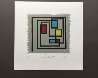 De Stijl Doodle No. 1 - Hand-Pulled Multi-Block Linocut Print with Primary Colors and Linear Design