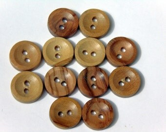 12 Mediterranean Olive Wooden Round Buttons. 2 holes. 12 mm. #EB33